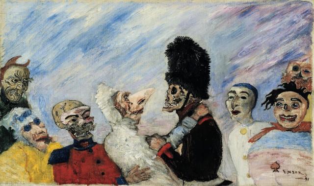 ames Ensor, 'Skelet Arresteert Maskers', 1891, Oli on canvas, Private Collection