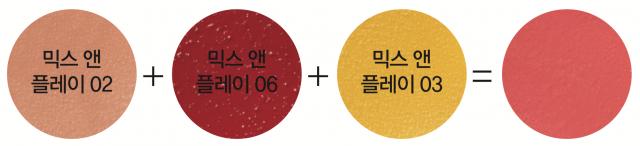 Espoir 믹스 앤 플레이 02 베이지 어떠한 컬러와도 무난하게 매치할 수 있는 '마성의 컬러'. 선뜻 손이 가지 않던 비비드한 색과 조합하면 피부톤에 어울리는 차분한 컬러가 만들어진다. 1만5천원.