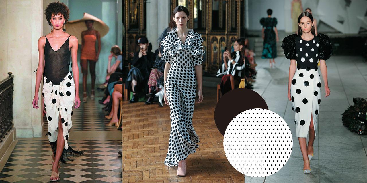 이번 시즌 런웨이에 등장한 블랙 & 화이트 도트 패턴 룩을 참고해 경쾌한 흑백의 조합을 즐겨볼 것.