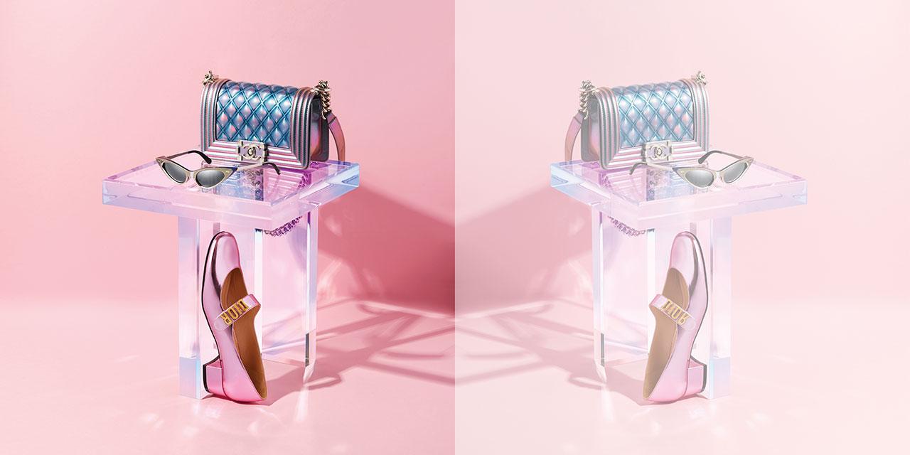 미래적인 감성을 주입한 패션 하우스의 핑크빛 메탈릭 피스.