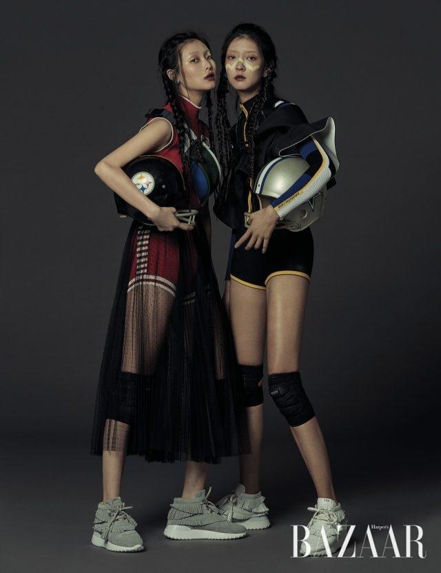 (왼쪽부터) 보디수트는 Miu Miu, 레이어드한 튤 스커트는 Dior, 실버 귀고리는 49만원으로 Louis Vuitton, 패니팩은 14만9천원으로 Lacoste, 프린지 장식 스니커즈는 130만원으로 Tod's 제품. 보디수트는 Dior, 러플 장식 뷔스티에는 409만원, 실버 귀고리는 49만원으로 모두 Louis Vuitton, 스니커즈는 130만원으로 Tod's 제품.