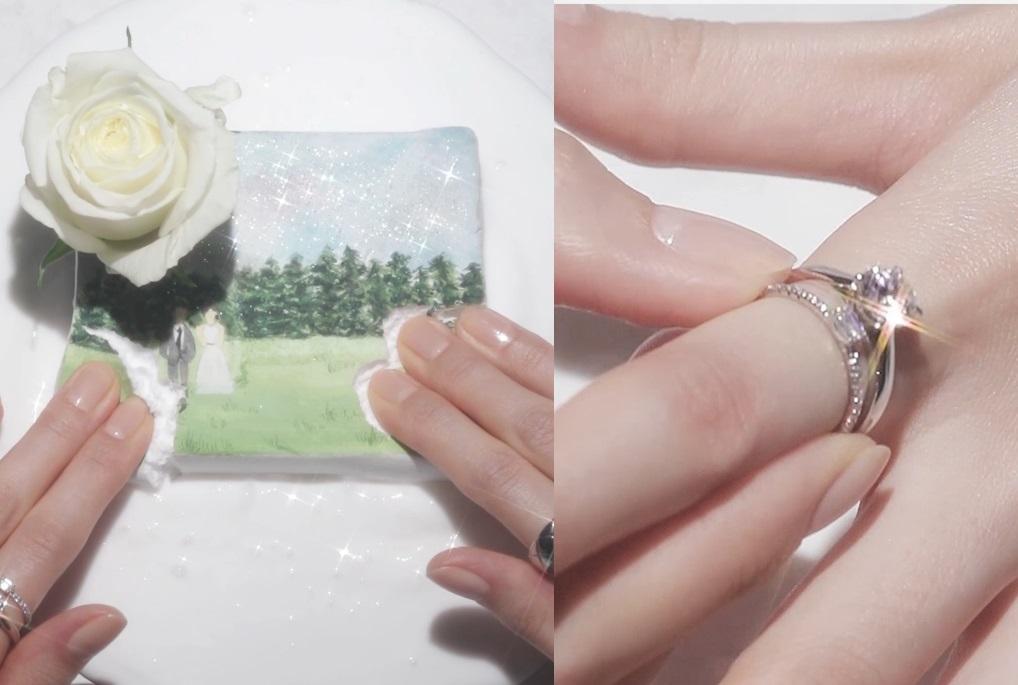 결혼식을 담은 그림이 그려진 클레이와 새하얀 슬라임, 웨딩 시즌을 맞이해 5월의 신부에게 전하는 웨딩 반지 세 가지 연출 법!