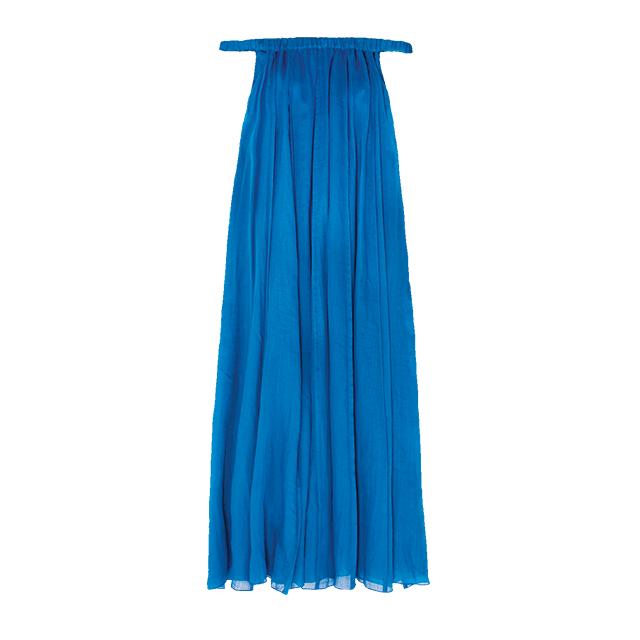 명한 코발트 블루 컬러가 선사하는 에너지가 좋다. 서머 드레스는 Petar Petrov