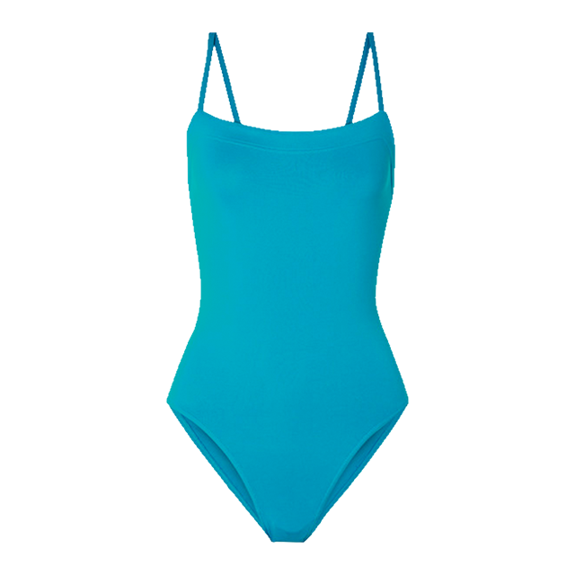 요즘은 단순한 디자인의 원피스 수영복이 예뻐 보인다. 하늘색 스윔수트는 Eres