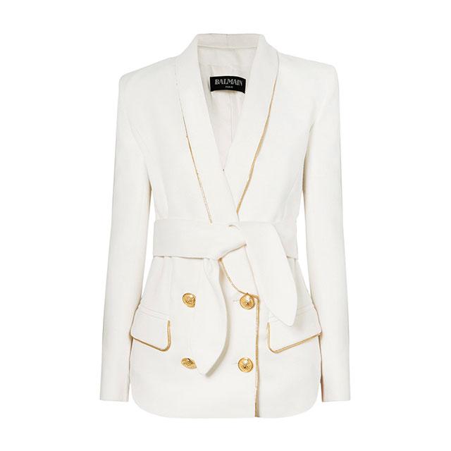 활용도가 높은 화이트 재킷은 Balmain by Net-A-Porter