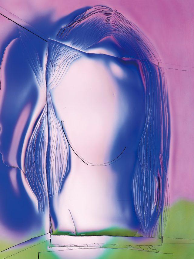 미완의 얼굴이 관람객과 마주 보고 있어, 자기만의 이미지를 창조할 수 있도록 해준다. 마농 베르텐브룩의 'Blue Portrait'.