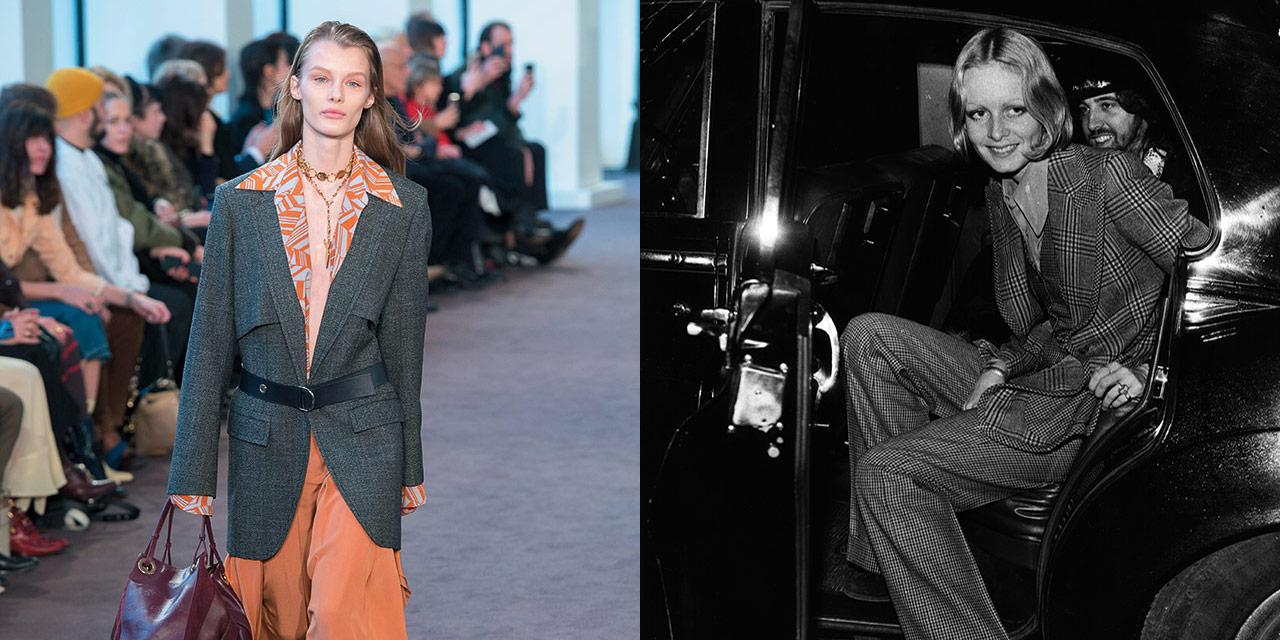 남성적인 울 트위드 소재에 지극히 우아하고 여성스러운 프린티드 실크를 매치해 레트로 패션을 대표하는 1970년대로의 여행을 떠나보자.