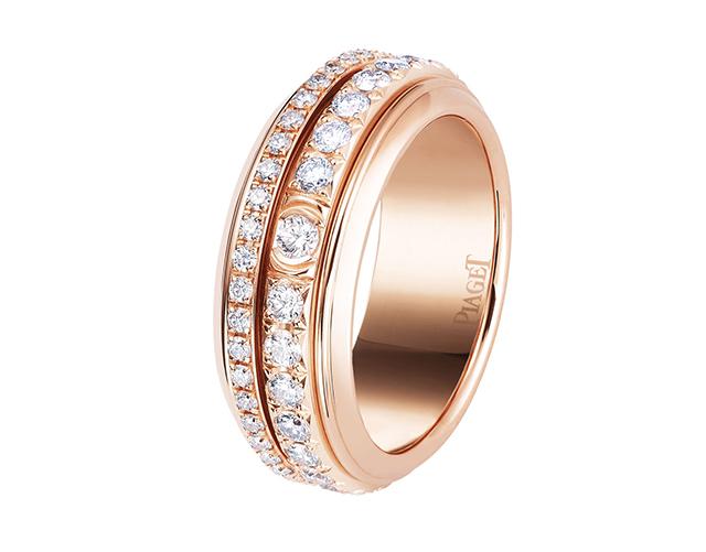 핑크 골드와 다이아몬드 포제션 링은 1천 2백만원으로 Piaget