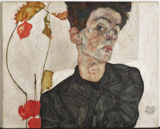 Egon Schiele, 'Self-Portrait with Chinese Lantern Plant', 1912, 32.2×39.8cm, Oil and opaque color on wood.