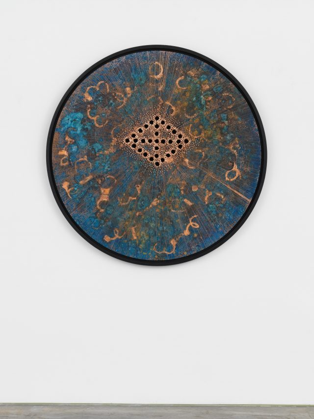 'Correctional Circle 1280', 2018, 121.9×121.9cm, Oak wood, copper sheet, copper nails, and darkening patina.