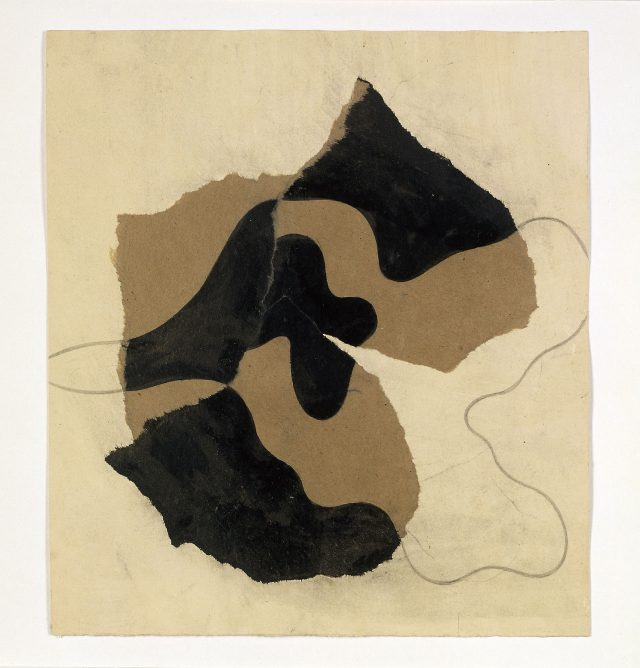 'Untitled(dessin déchiré)', 1934, 24.5×22cm, Collage with torn paper, Ink, and Pencil.