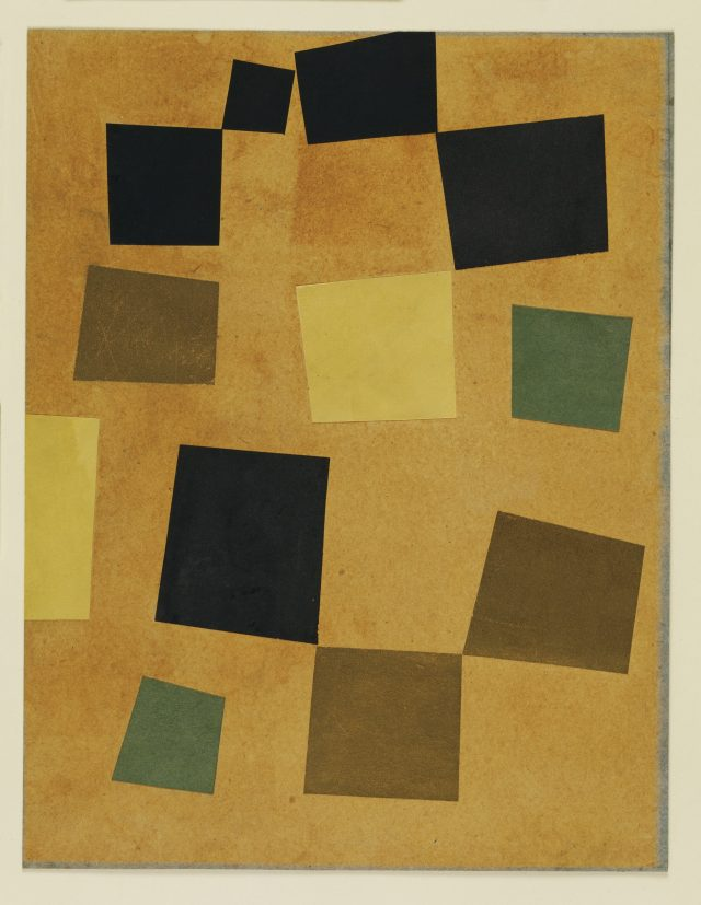 'Untitled (Squares Arranged according to the Laws of Chance)', 1917, 33.4×26cm, Cut-and-pasted colored paper on colored paper.