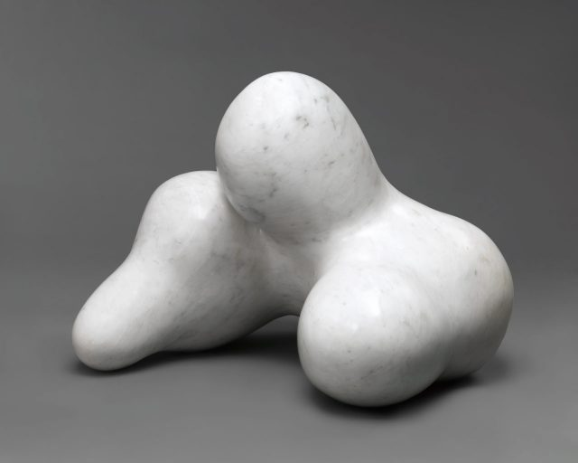 'Human Concretion', 1934 (two views), Carved before 1949, 33.7×40.6×39.4cm, Marble.