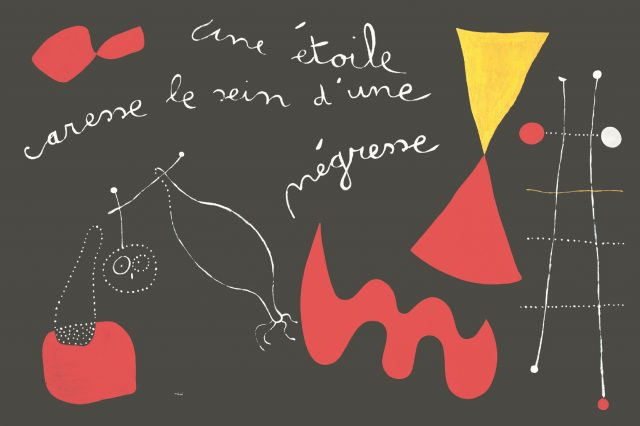 'Peinture-poème' «Une étoile caresse le sein d'une négresse »(Painting-poem «A star caresses the breast of a Negress»), 1938, 130×195cm, oil and hand inscription on canvas.