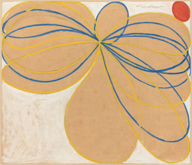 'Group V, The Seven-Pointed Star, No. 1', 1908 from 'The WUS/Seven-Pointed Star Series', 62.5×76cm, Tempera, gouache and graphite on paper mounted on canvas.