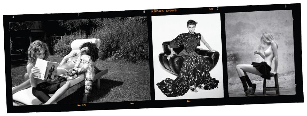 (왼쪽부터)카스 버드가 찍은 흑백 화보, ((2017).지방시 2019 S/S 광고 캠페인.윌리 반데페르가 찍은 라라 스톤.