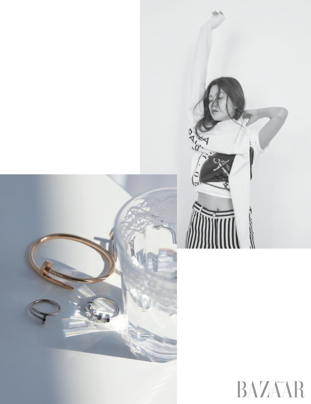 (왼쪽)못 모티프의 뱅글은 8백20만원대, 반지는 1백40만원대, 너트 모티프의 반지는 2백90만원대 모두 Cartier.(오른쪽)티셔츠는 11만원대 Polo Ralph Lauren, 니트웨어, 와이드 팬츠는 모두 가격 미정 Chanel.