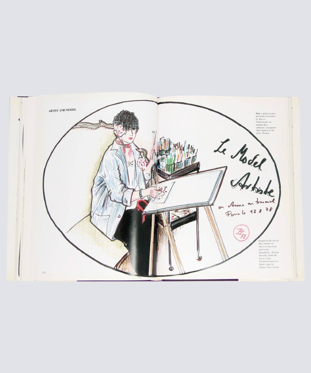 1986년, 라거펠트가 그린 안나 피아지의  모습.