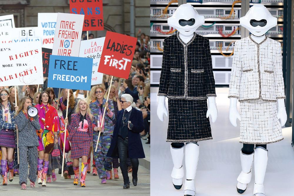 (왼쪽) 2014 S/S 샤넬 런웨이엔 피켓을 든 모델들이 쏟아져 나왔다. (오른쪽) 5 샤넬 수트를 입은 사이보그 소녀들이 등장한 2017 S/S 컬렉션.