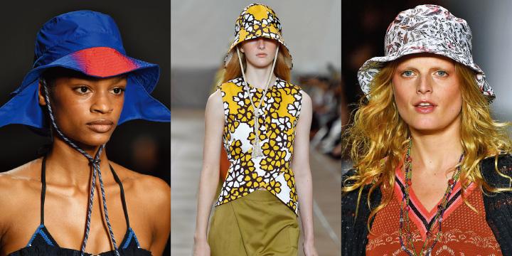독특한 실루엣과 프린트, 다양한 소재가 뒤섞인 버킷 모자는 자외선을 피할 수 있는 가장 패셔너블한 방법이다.