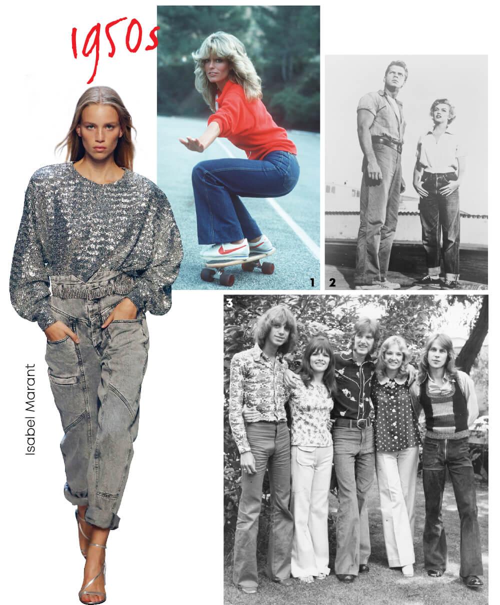 1 1976년 영화 에서의 파라 포셋.2 영화 에서 쿨한 데님 룩을 선보인 메릴린 먼로.3 1970년대를 대표하는 히피 룩.