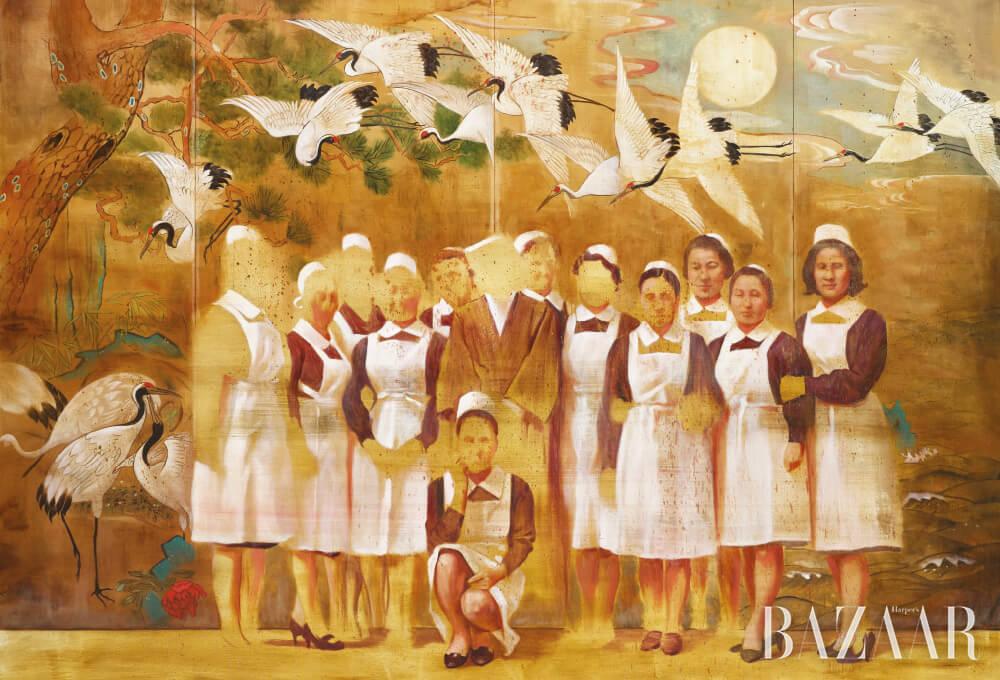 Nurses and Cranes', 2017, Oil on linen, 180×250cm.