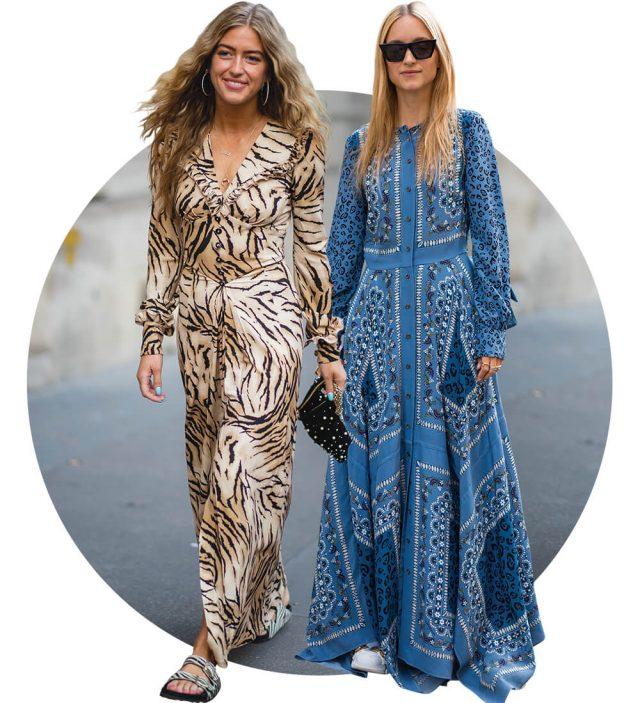 알레산드라 리치의 페미닌한 레오퍼드 드레스에 힐이 아닌, 슬라이드를 매치한 에밀리 신들레우의 쿨한 스타일링.알투자라의 스카프 패턴 드레스를 어글리 스니커즈로 드레스다운한 샬롯 그로에네벨드.