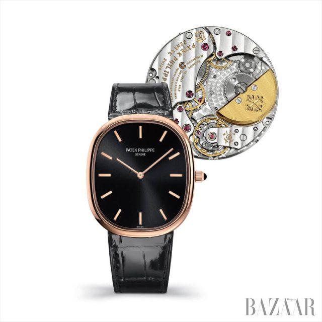 무브먼트 셀프 와인딩의 '골든 일립스' 시계는 Patek Philippe.