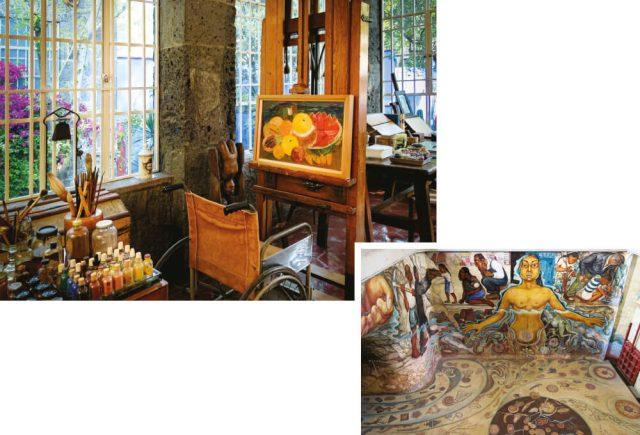 (왼쪽부터)프리다 칼로가 작품을 그렸던 방에 있는 그녀의 휠체어와 이젤.디에고 리베라의 벽화 작품 '물, 생명의 근원 (Water, Origin of Life)'.