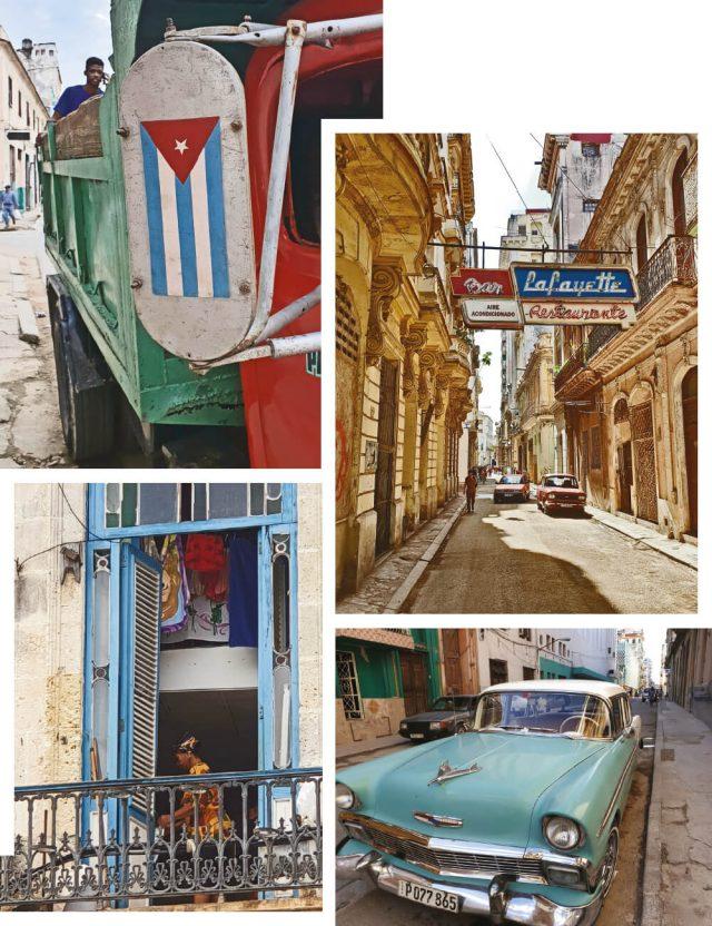 (위부터) 아바나 중심지의 대중교통. 아바나 구시가지의 거리. 성당 광장(Plaza de la Catedral) 쪽에 있는 집의 모습. 쿠바의 일반적인 클래식 자동차.