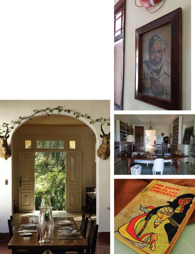 노벨문학상 수상 작가 어니스트 헤밍웨이가 살았던 핀카 비히아(Finca Vigia). 오른쪽 아래 사진은 의 스페인어 초판.