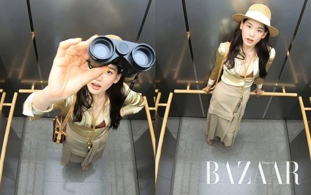셔츠 드레스, 네크리스, 슈즈는 Bottega Veneta, 브라 톱은 &Other Stories, 랩 스커트 팬츠는 3.1 Phillip Lim, 라피아 햇은 H&M, 크로스 바디 백은 Louis Vuitton 제품.
